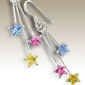 Silver earings with stars Cubic Zirconia stones - Finishing: Hand polished 925 Sterling silver+E-coat 925 Sterling silver Design from Bangkok925.com  Dimensions:  3.0cm.  nice Silver CZ Earrings at $9.02