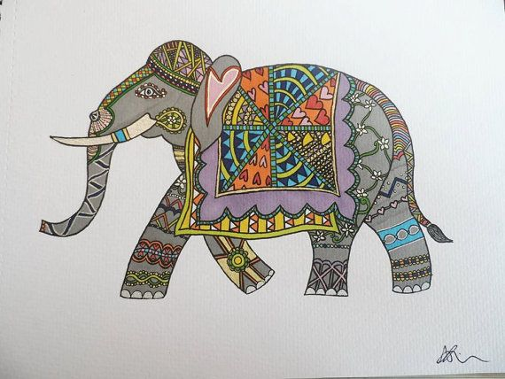 Indian Elephant A4 drawing by AliceRollinsonArt on Etsy, £10.50
