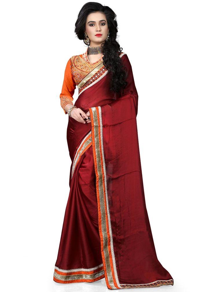 Buy Mystic Patch Border Work Chiffon Satin Classic Saree #sarees #saree #sari #designersaree #sareebuzzlove #sareebuzz