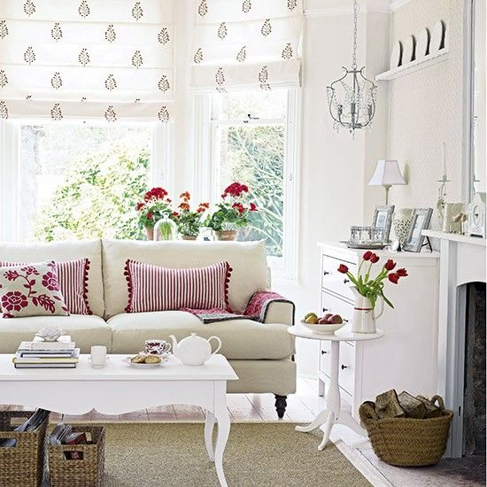 White and red make a classic Scandi country-style combination - and one that?s easy to achieve. Stick to a white background with white or cream furniture and hang a delicate, botanical-print wallpaper to add interest. Add pops of red with pretty accessories