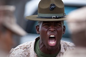 WashPost: Staff Sgt. Antonio J. Curry, a drill instructor aboard Marine Corps Recruit Depot San Diego, barks out instructions to align his platoon of fresh recruits Aug 30, 2012. Curry, who is on his second b-billet after completing a tour of duty as a recruiter, says his prior experience has helped him become a better drill instructor for his recruits. (U.S. Marine Corps photo by Sgt. Kuande Hall)