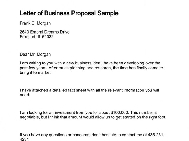 Letter of Business Proposal Sample