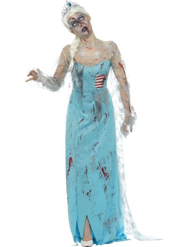 Disfraz de reina del hielo zombi para mujer