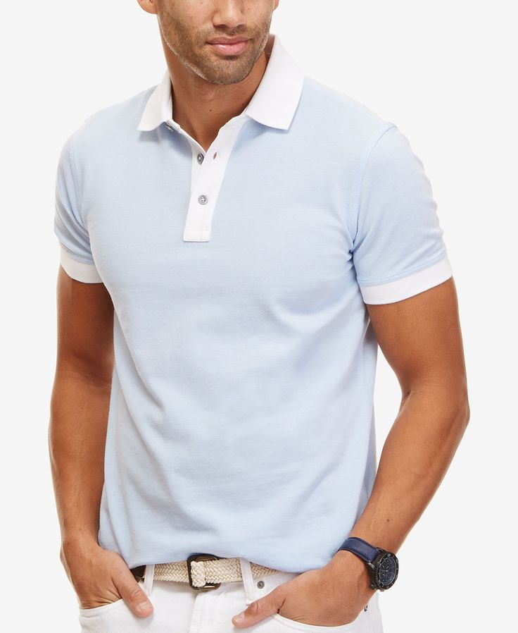A modern slim fit maintains a sleek profile on this polo shirt from Nautica, while contrast trim ups the style factor. | Cotton | Machine washable | Imported | Three-button placket with contrast colla