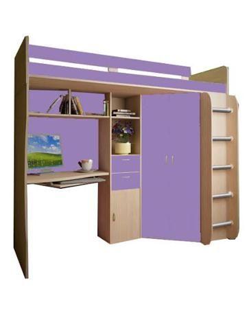 РВ мебель Астра дуб молочный/фиолетовый  — 13553р. ------------- Детская кровать-чердак Астра 1 дуб молочный/фиолетовый РВ мебель очень практичная и удобная. Она позволит даже самую маленькую детскую комнату сделать максимально комфортной и функциональной. Это целый мебельный комплекс, который включает в себя рабочую з...
