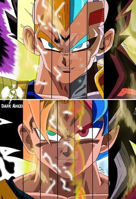 Vegeta e Goku  quase todas as formas