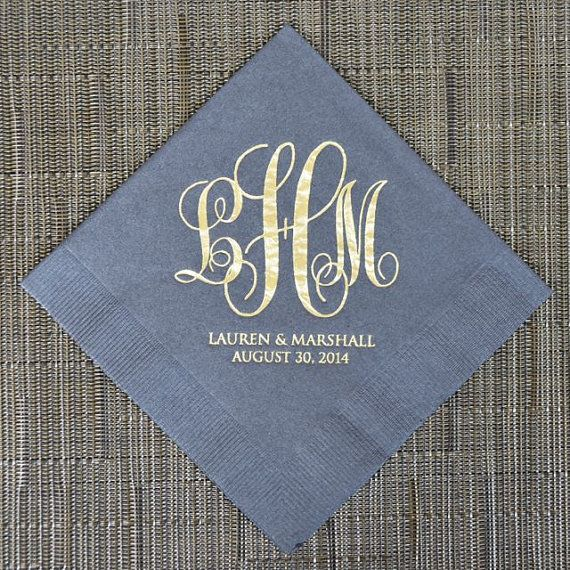 100 Wedding Monogram Cocktail Napkins by GraciousBridal on Etsy, $36.00