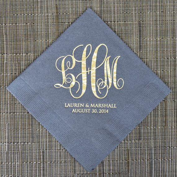 100 Wedding Monogram Cocktail Napkins by GraciousBridal on Etsy, $36.00