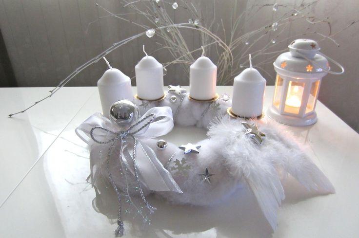 #white #wreath #kranz #advent #vijenac #weihnachten #christmas #white christmas #shabby by N. Gorišek