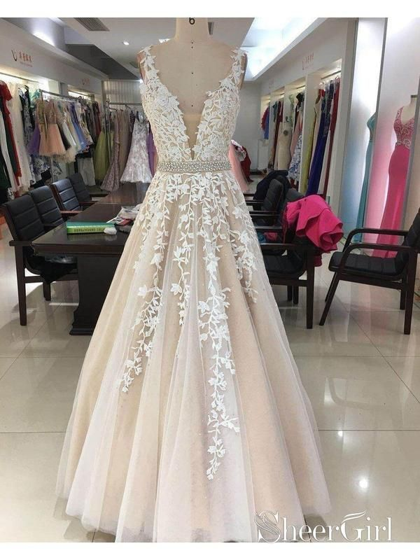 12da222a7e Long Lace Applique Prom Dresses Cheap Ball Gown Prom Dress APD3298-SheerGirl