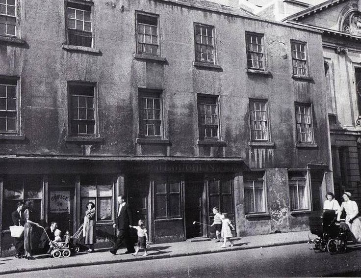 Lower Kevin Street looking North 1950s. To the left of this photo is where Corporation flats are now. Note the Moravian Church to the right (Still there)