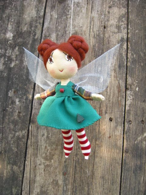 Christmas decoration  fairy  Green dressed   funny door TrilliBoltja, $50.00