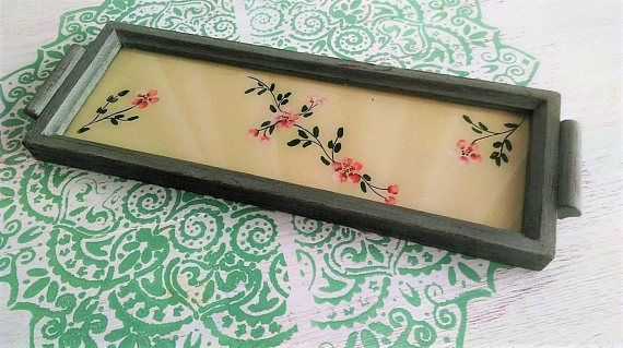 Antique coffee table Coffee tray with painted glass Vintage