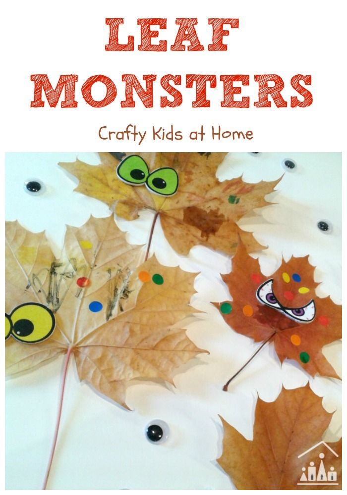 A quick and simple autumn leaf craft for kids. Gather some leaves and turn them into monsters.