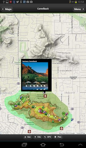 Great map for Phoenix's most popular hiking trail.OFFLINE Topo Maps7 different base maps from three internet map providers. Streets, satellite and terrain are available. There are 12 layers of geographic overlays including hotels, trails, views, elevations, peaks and mile markers.The app includes full GPS support, current weather conditions and links to webpagesOur cartographers design maps that look wonderful on your iPhone, iTouch and iPad.This version includes semi-transpar...