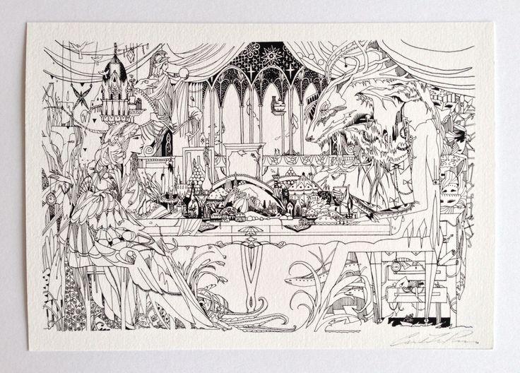 Carolin Prinn, The Beauty & The Terrible Beast, Limited Edition Print, 297 x 420 mm.  www.etsy.com/nz/shop/cprinnIllustration by Carolin Leary Prinn #surrealism #fineart #drawing #illustration #penandink #lineart #fantasy #art #fairytale #carolinprinn @niljora