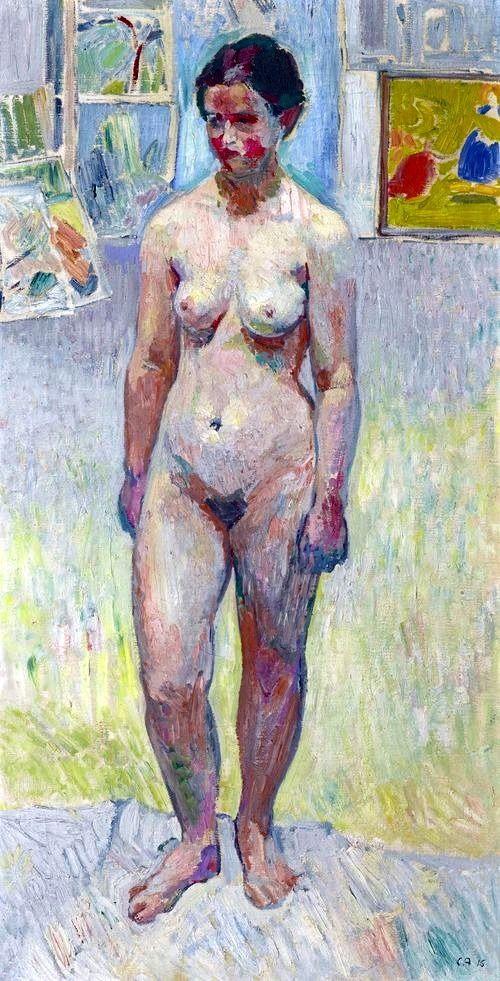 Cuno Amiet (Schweizer, 1868-1961), Kleiner Akt, 1915. Öl auf Leinwand