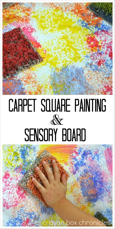 Carpet Square Painting & Sensory Board by Crayon Box Chronicles.  Explore process art with carpet samples.
