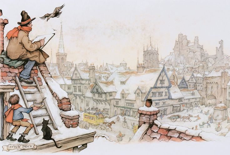 CAT on the Roof by Anton Franciscus Pieck (19 April 1895 – 24 November 1987) was a Dutch painter, artist and graphic artist. His works are noted for their nostalgic or fairy tale-like character and are widely popular, appearing regularly on cards and calendars.