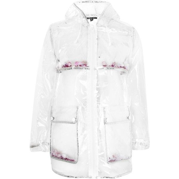 Topshop Petite Transparent Glitter Mac Raincoat ($63) ❤ liked on Polyvore featuring outerwear, coats, topshop, clear, petite raincoat, white hooded coat, hooded coat, rain coat and clear coat