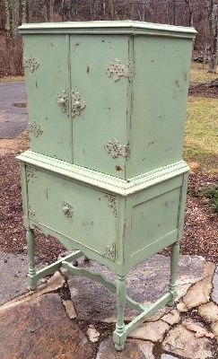 Vintage chalk painted radio cabinet shabby chic green