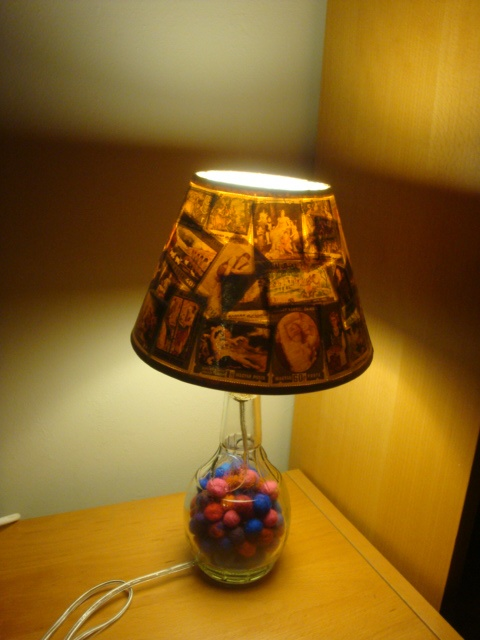 Decorative Lamp Shades 10 best my handmade decorative lampshades images on pinterest decorative lampshades by papikaisousami see more vintage postage stamps collage on a used bottle full of handmade felt ballstransformed to audiocablefo