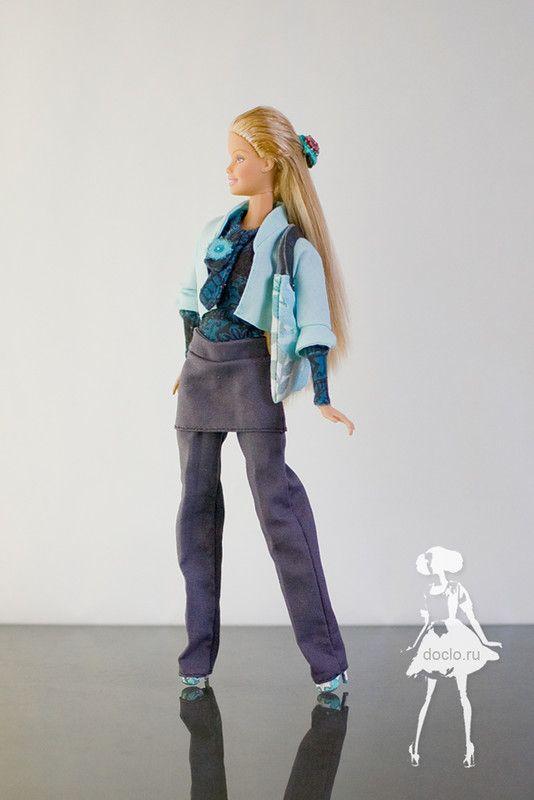 Пиджачок, кофта ворот-бант, брюки с юбкой, сумка и туфли из термоклея