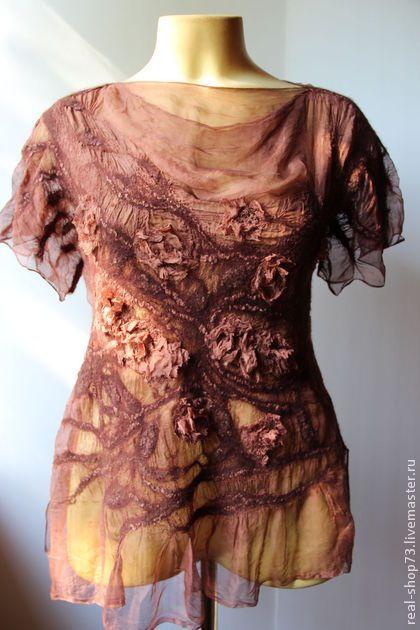 Валяная блузка Вечернее бохо - цветочный,нуно-фелтинг,одежда для женщин