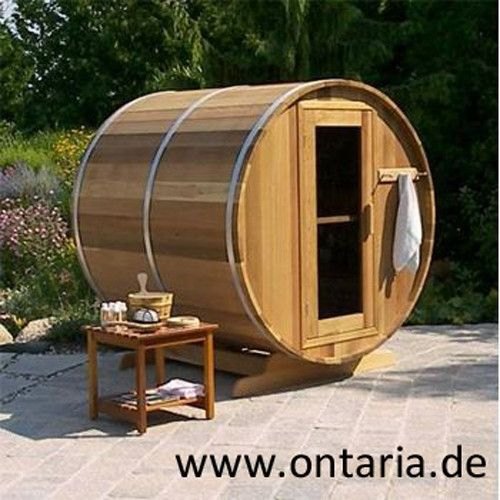 Barrel-Sauna ØH210xL210 cm - 6People Additional comfort - increased lenght and height. Canadian Red Cedar lastst for decades without treatment: Barrel Sauna for 6 people with wood-burning heater. All you need is a power drill for the assembly! E-and Infrared-heater available