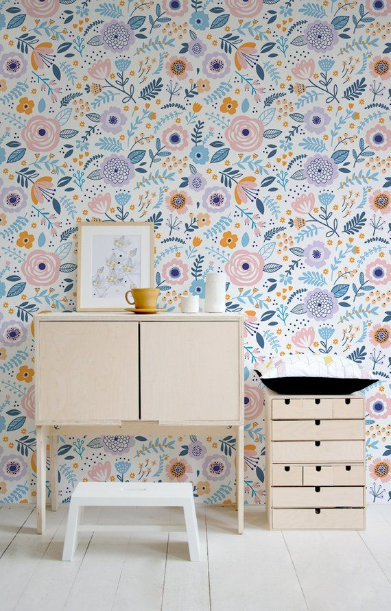 Removable Wallpaper Cute Floral Wallpaper Removable Wall Decor Etsy Girls Room Wallpaper Removable Wallpaper Nursery Wallpaper
