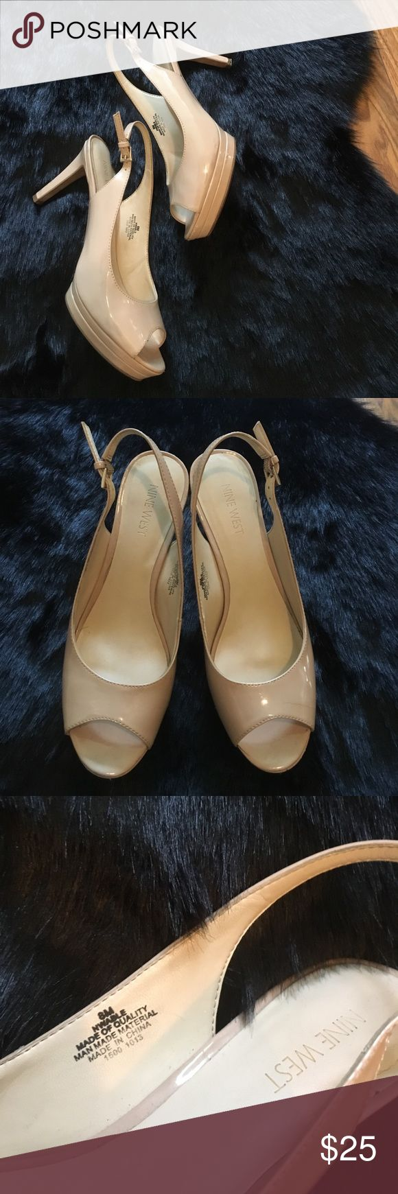 Nine West heels Nude open toe heels, good used condition, scuff mark shown in pic Nine West Shoes Heels