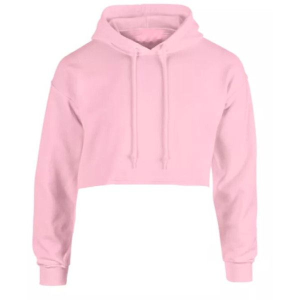 Goldie Pink Hoodie (£30) ❤ liked on Polyvore featuring tops, hoodies, shirts, cropped hooded sweatshirt, pink top, pink hoodies, cropped hoodie and hooded pullover