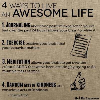 This is the best advice that should be followed each day! 4 Ways To Live An Awesome Life - @Shawn Achor Shawn Achor #inspire