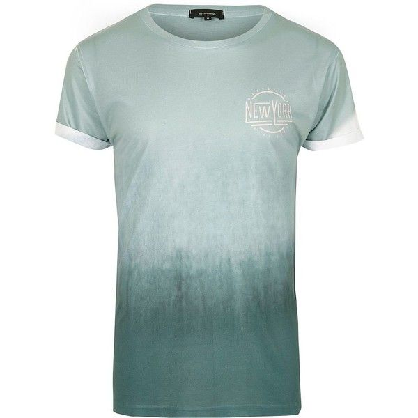 River Island Mint green New York fade T-shirt ($20) ❤ liked on Polyvore featuring men's fashion, men's clothing, men's shirts, men's t-shirts, river island mens shirts, mens tall t shirts, faded glory men's t shirts, mens tall shirts and mens crew neck shirts