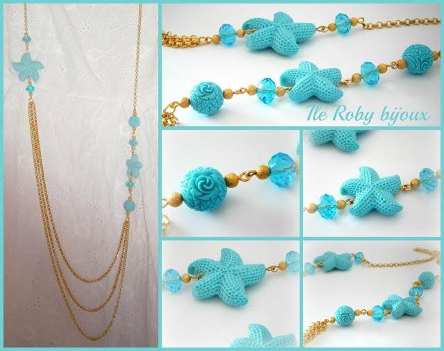 Collana realizzata con catena dorata e applicazione di stelle marine e sfere in resina