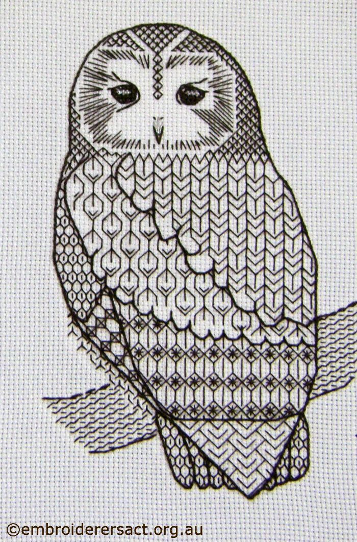 blackwork owl using pattern
