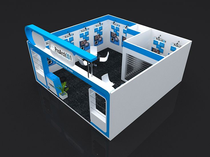 Booth design 3d model 6 mtr x 6 mtr 1 side open free for Decoration 3d model free download