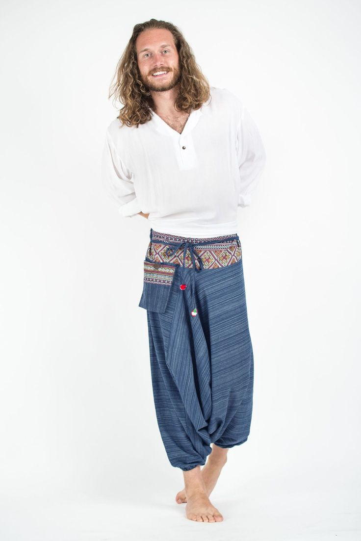 Pinstripe Cotton Low Cut Harem Pants With Hill Tribe Trim Navy
