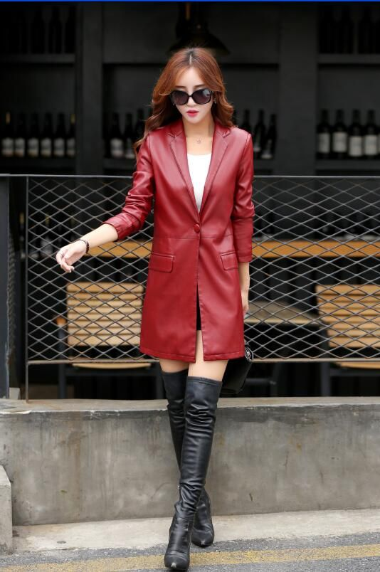 New 2017 women leather clothing female outerwear red black long coat leather jackets lady clothing Leisure