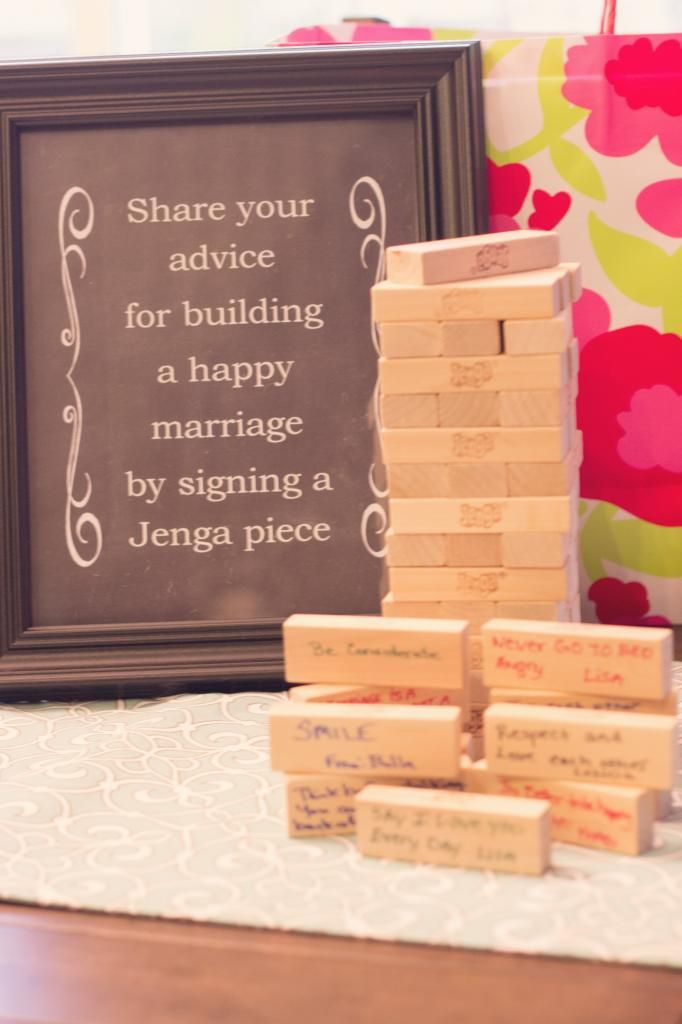 Bridal shower Jenga guest book