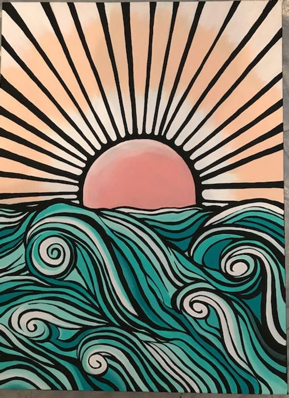 Items Similar To Graphic Ocean Painting On Etsy Best Picture For