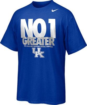 Kentucky Wildcats Royal Nike 2012 NCAA Basketball National Champions Celebration No 1 Greater T-Shirt -