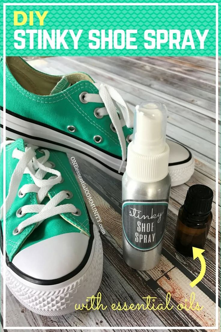 DIY Stinky Shoe Spray {essential oils} - simple to make, even stinkiest shoes smell fresh & clean again. A couple sprays of this all-natural powerful deodorizer knocks out shoe & foot odor in no time! **Plus there are free printables of recipe cards and labels that you can use for yourself, share with your team, or use for a make & take class.