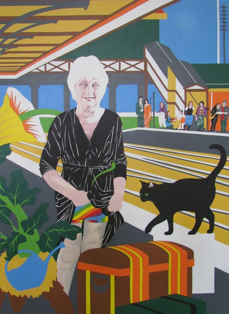 Kare Grayson MFA. Commissioned work referencing Tissot's Waiting for the Train..