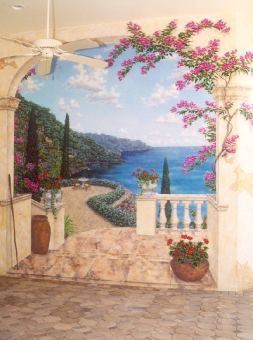 Mediterranean Terrace, Trompe l'oeil Mural