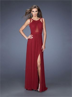 Sexy Gathered Neckline with Double Straps Open Back High Slit Long Chiffon Prom Dress PD11629