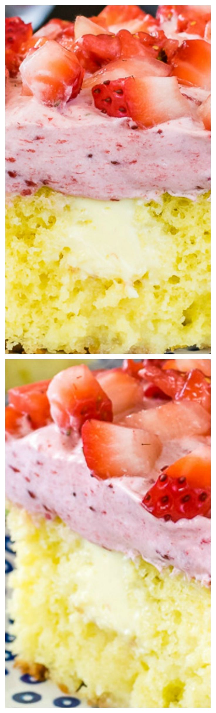 Lemon Strawberry Poke Cake ~ Easy and refreshing... The creamy lemon frosting pockets and fluffy strawberry mousse make this a favorite with everyone.