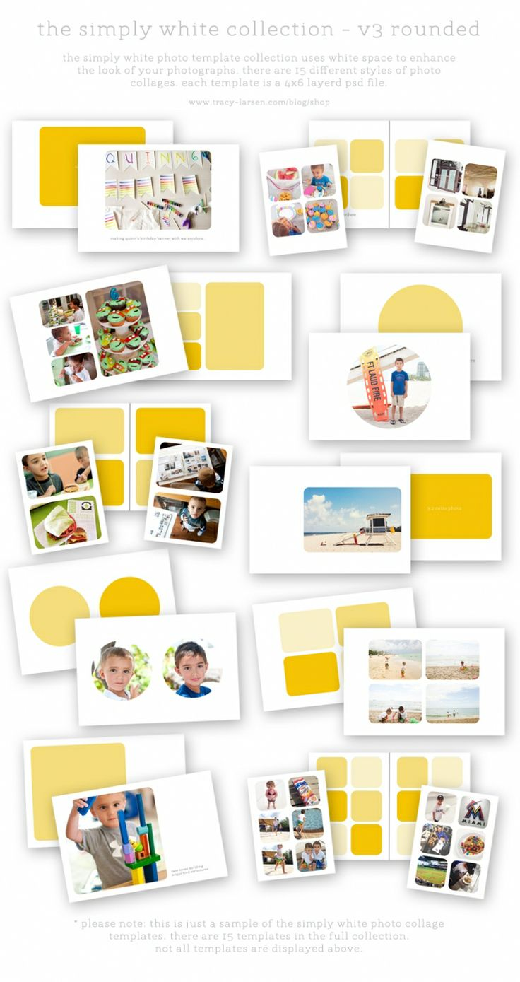 the simply white collection v3r rounded photo collage templates for project life => tracy-larsen.com/blog/the-simply-white-collection-v3/