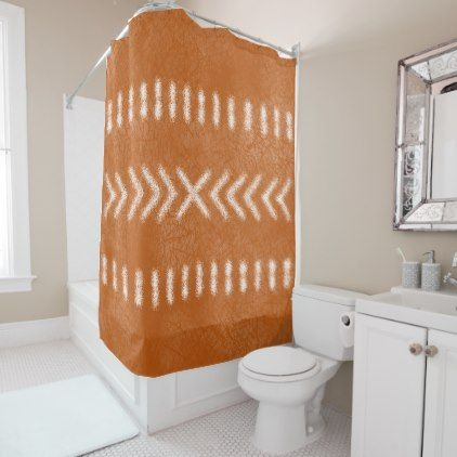 Minimalist Tribal on Orange Shower Curtain - shower curtains home decor custom idea personalize bathroom