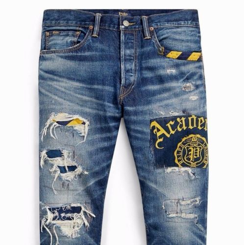 Polo-Ralph-Lauren-Men-Indigo-Repaired-Patchwork-Distress-Academy -Slim-Crop-Jeans 9a5871d8607e9